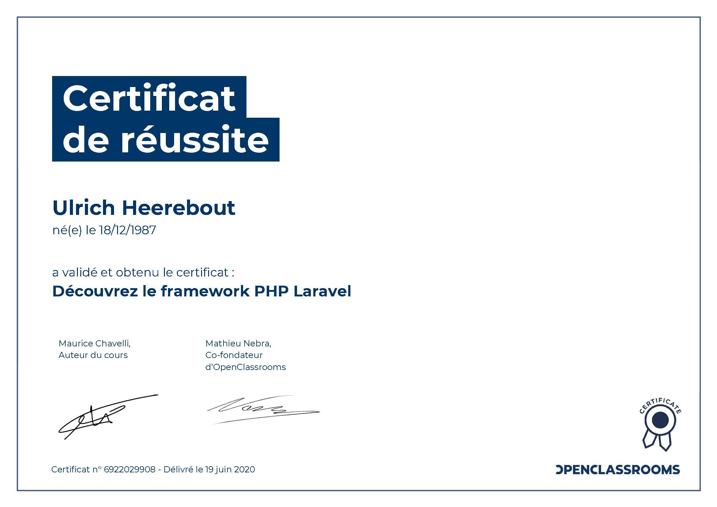 Certificat de réussite : Découvrez le framework PHP Laravel