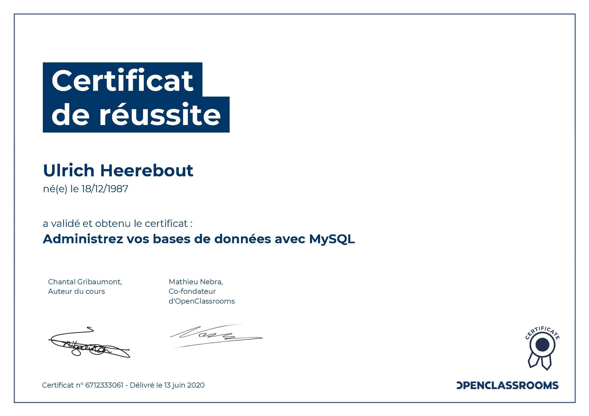 Certificat de réussite : Administrez vos bases de données avec MySQL