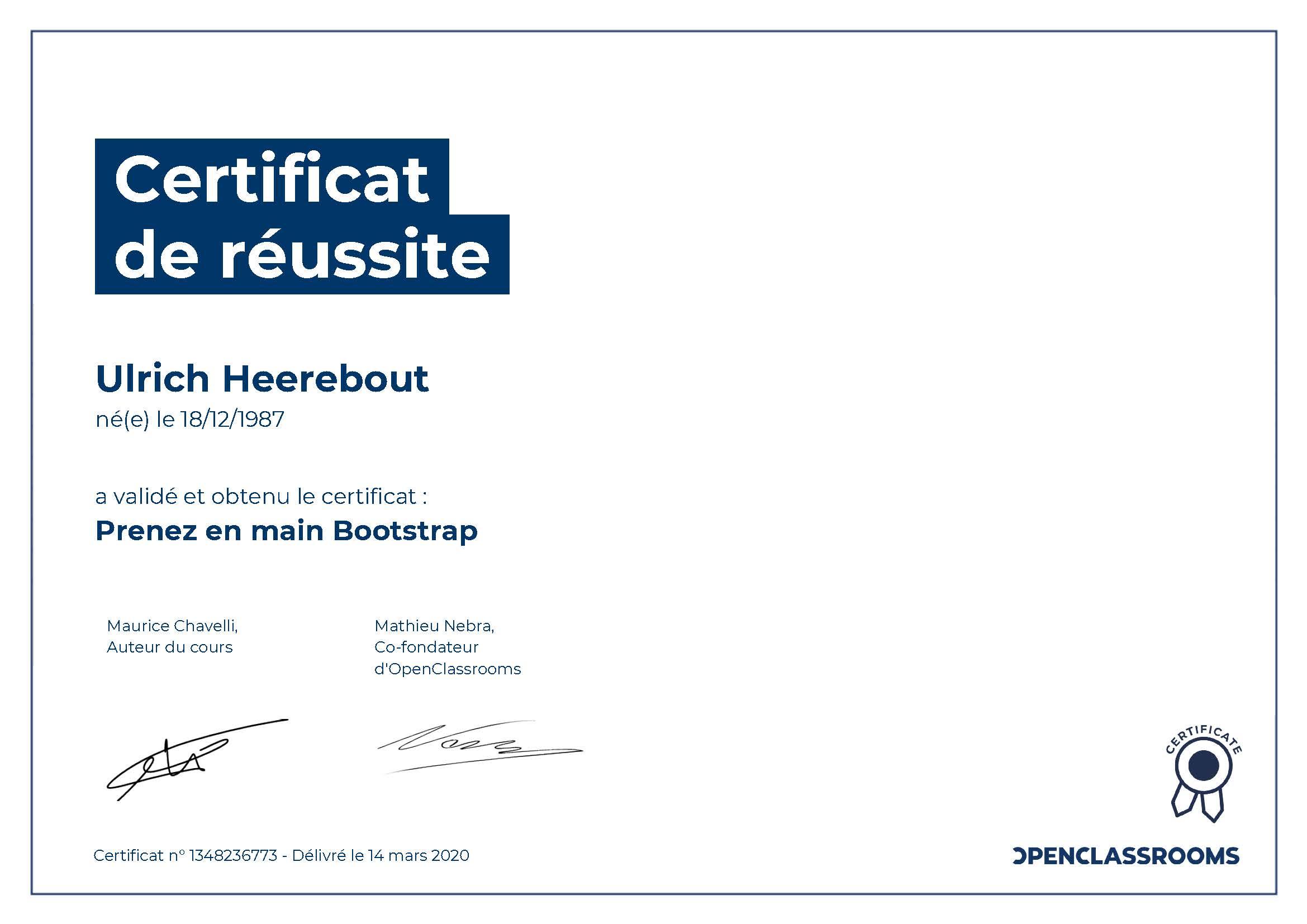 Certificat de réussite : Prenez en main Bootstrap