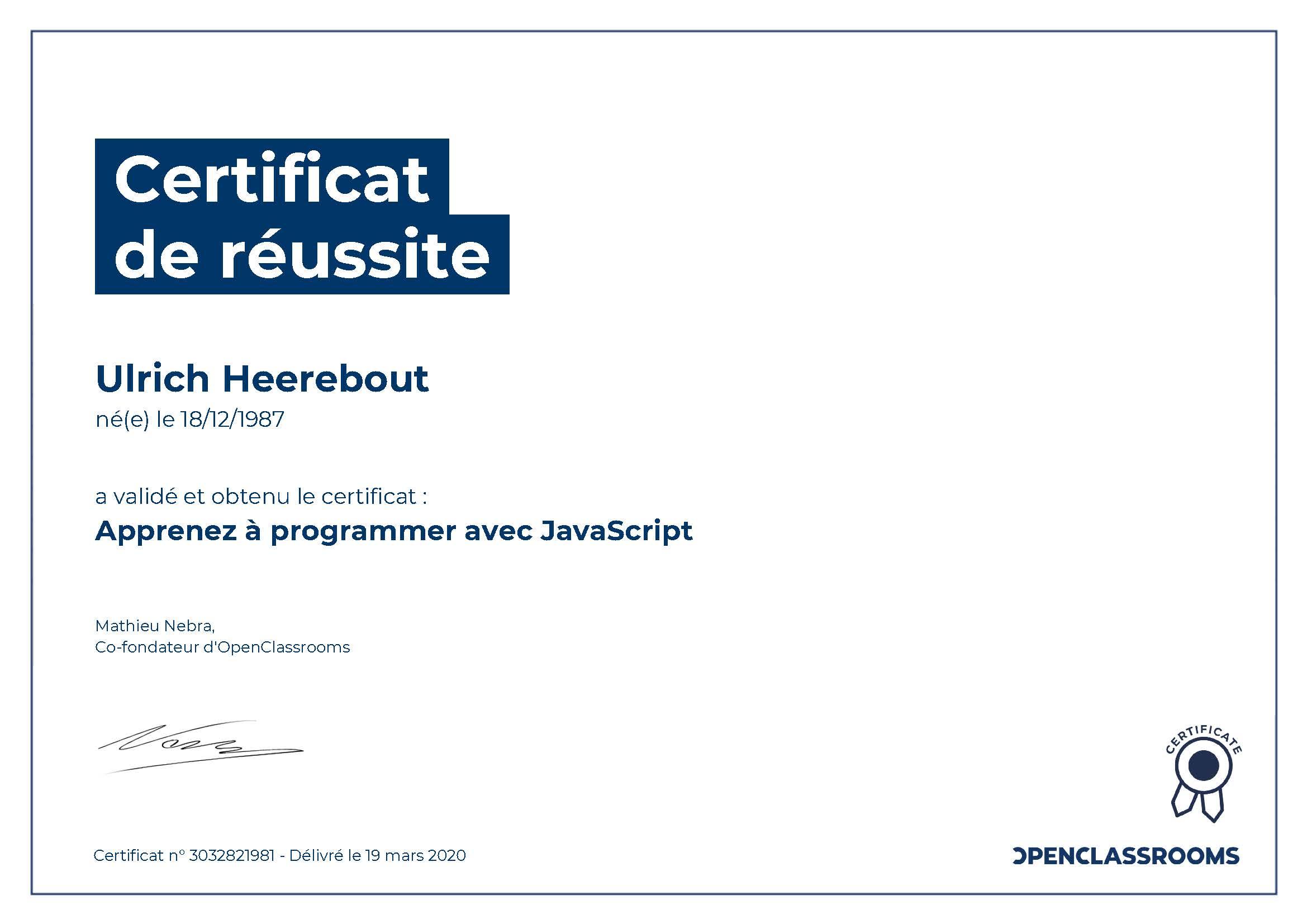 Certificat de réussite : Apprenez à programmer avec javascript
