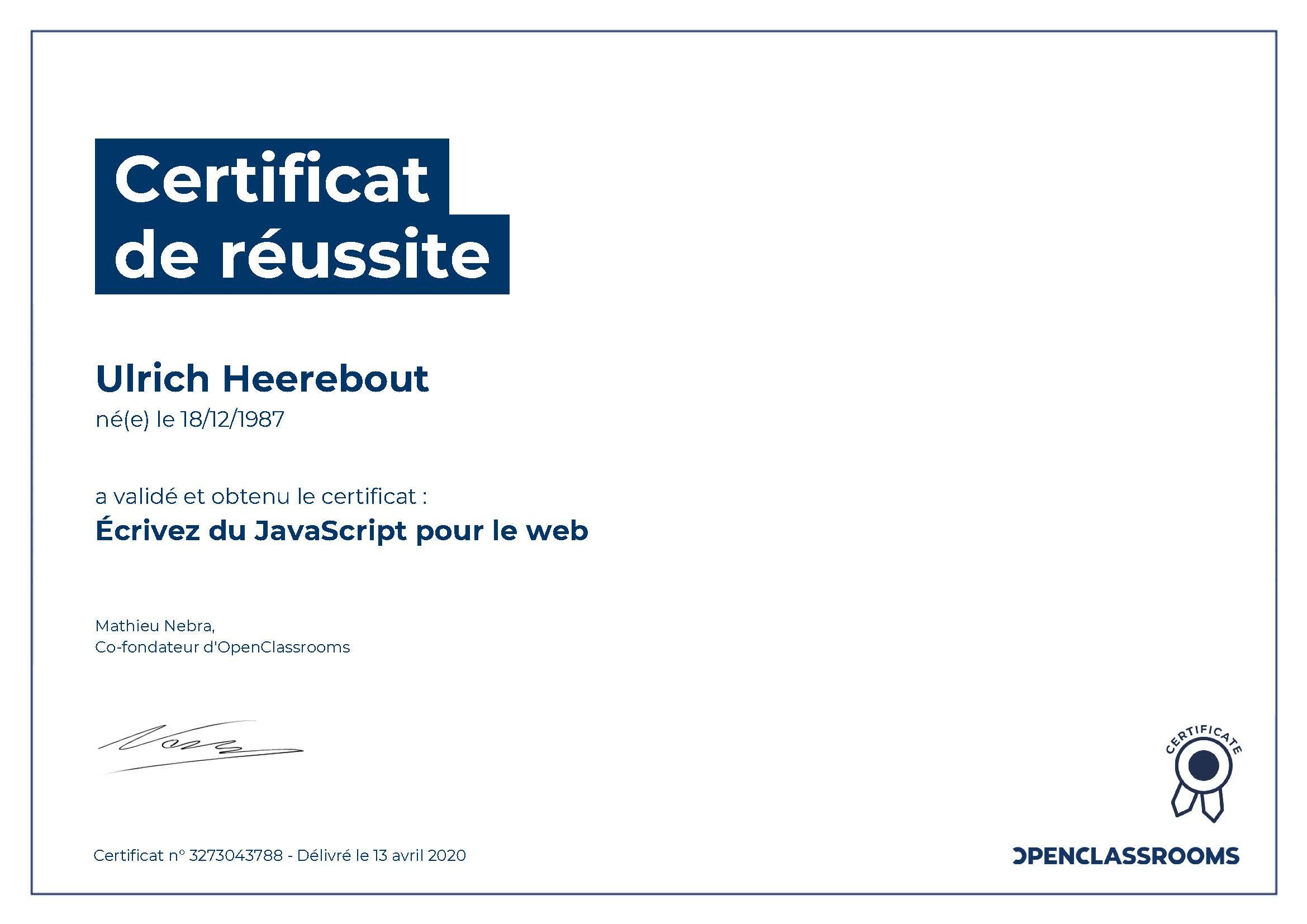 Certificat de réussite : Ecrivez du Javascript pour le Web
