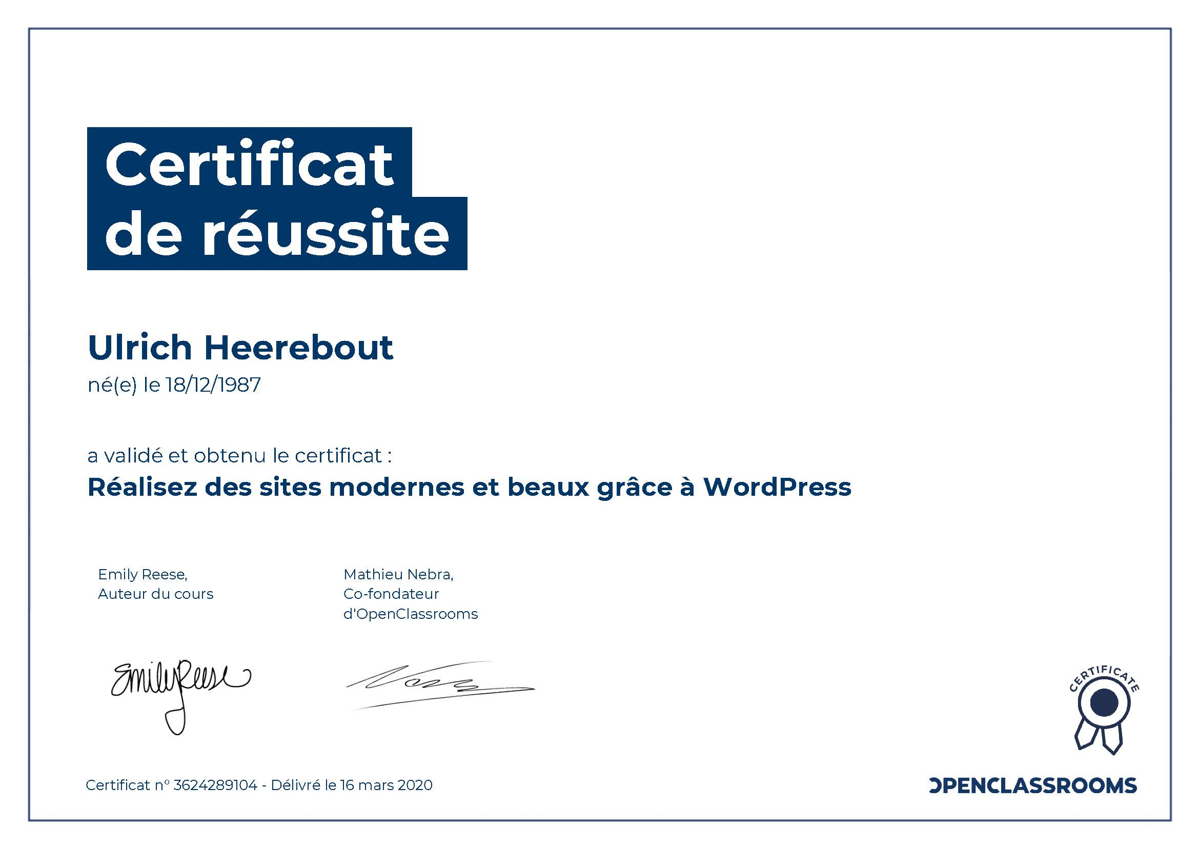 Certificat de réussite : Réalisez des sites modernes et beaux grâce à WordPress