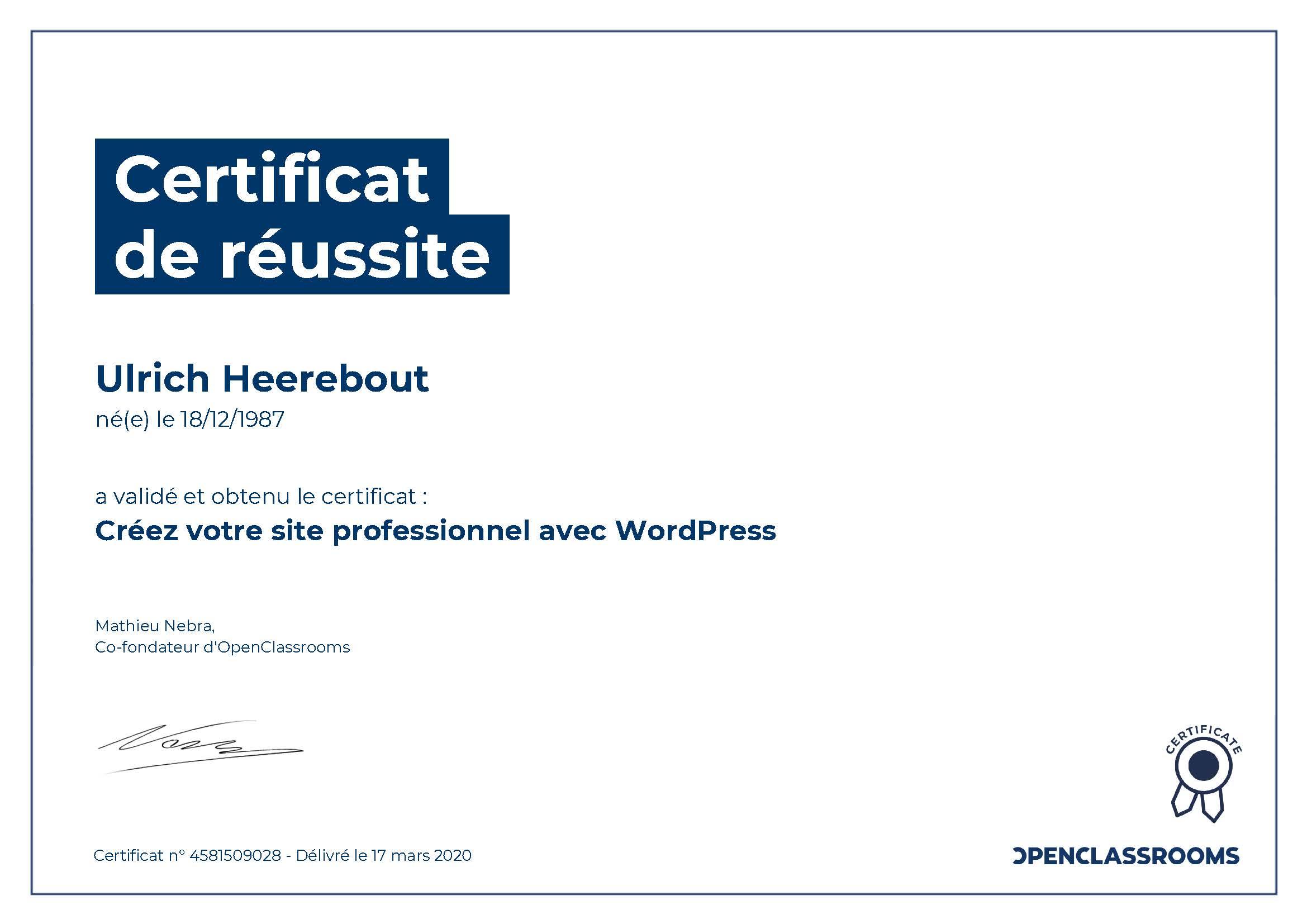 Certificat de réussite : Créer votre site professionnel avec WordPress