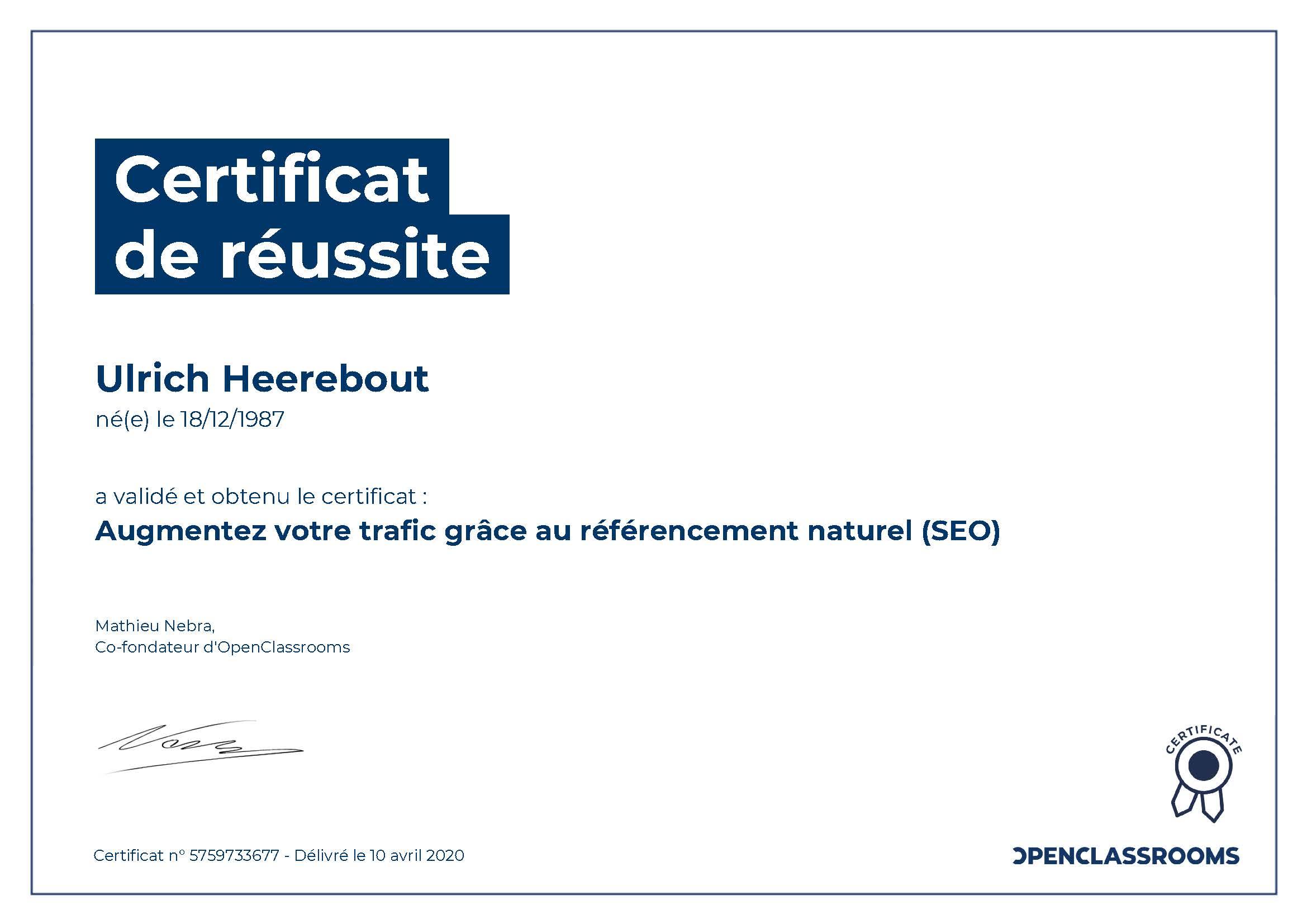 Certificat de réussite : Augmentez votre trafic grâce au référencement naturel SEO