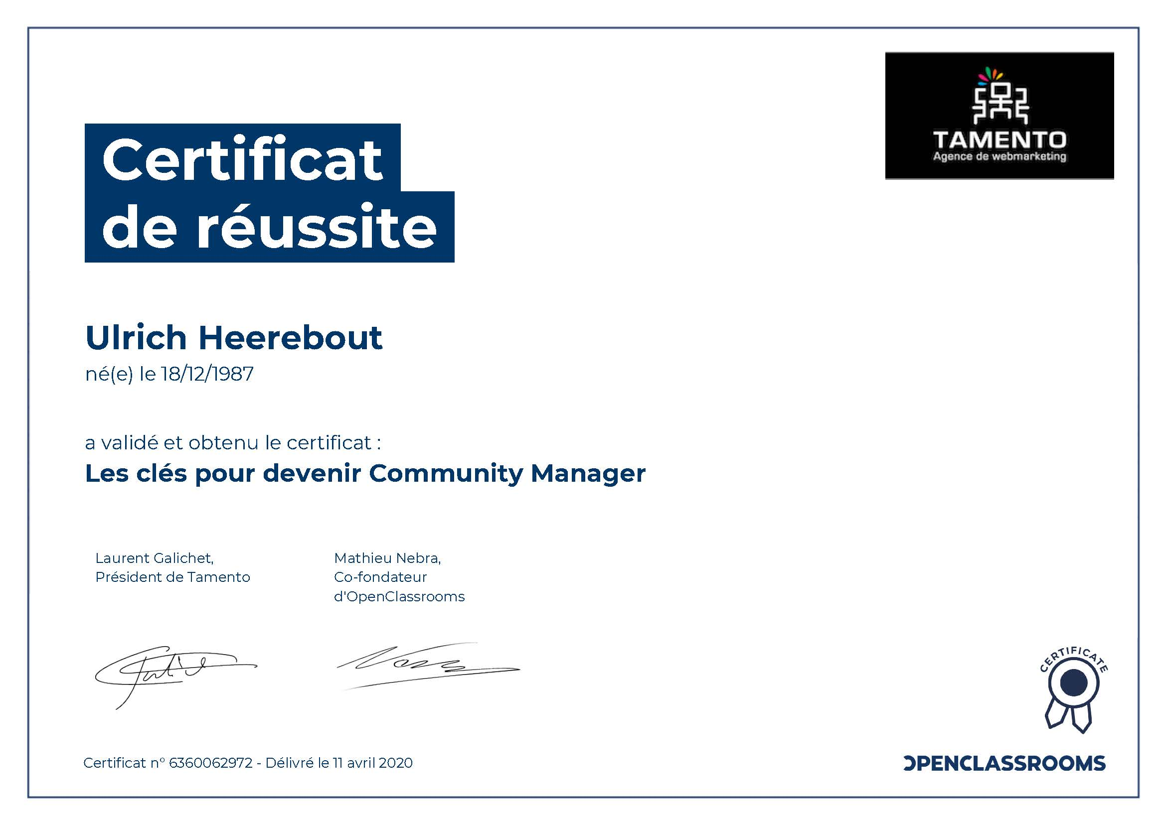 Certificat de réussite : Les clés pour devenir Community manager