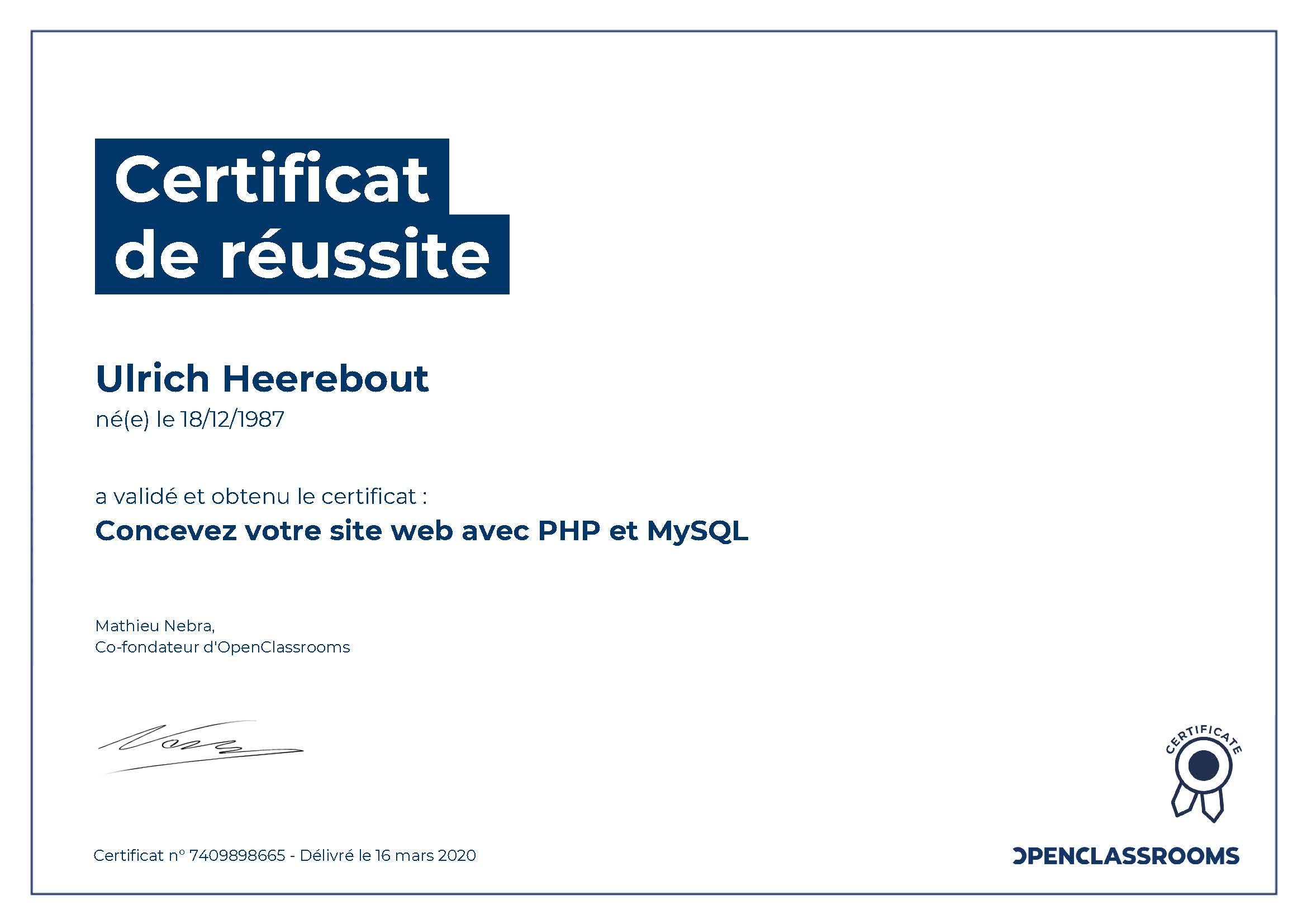 Certificat de réussite PHP MYSQL