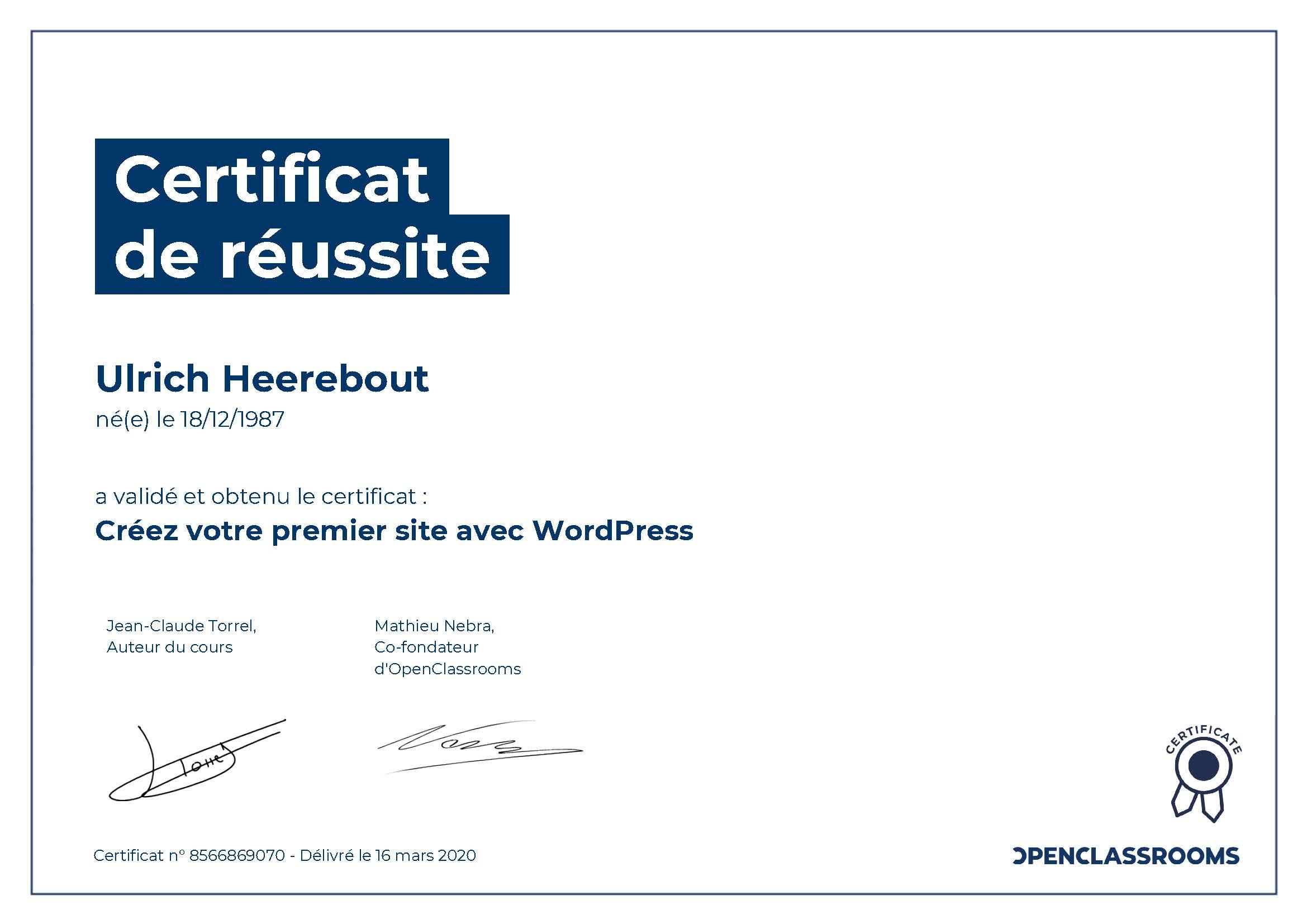 Certificat de réussite : Créez votre premier site avec WordPress