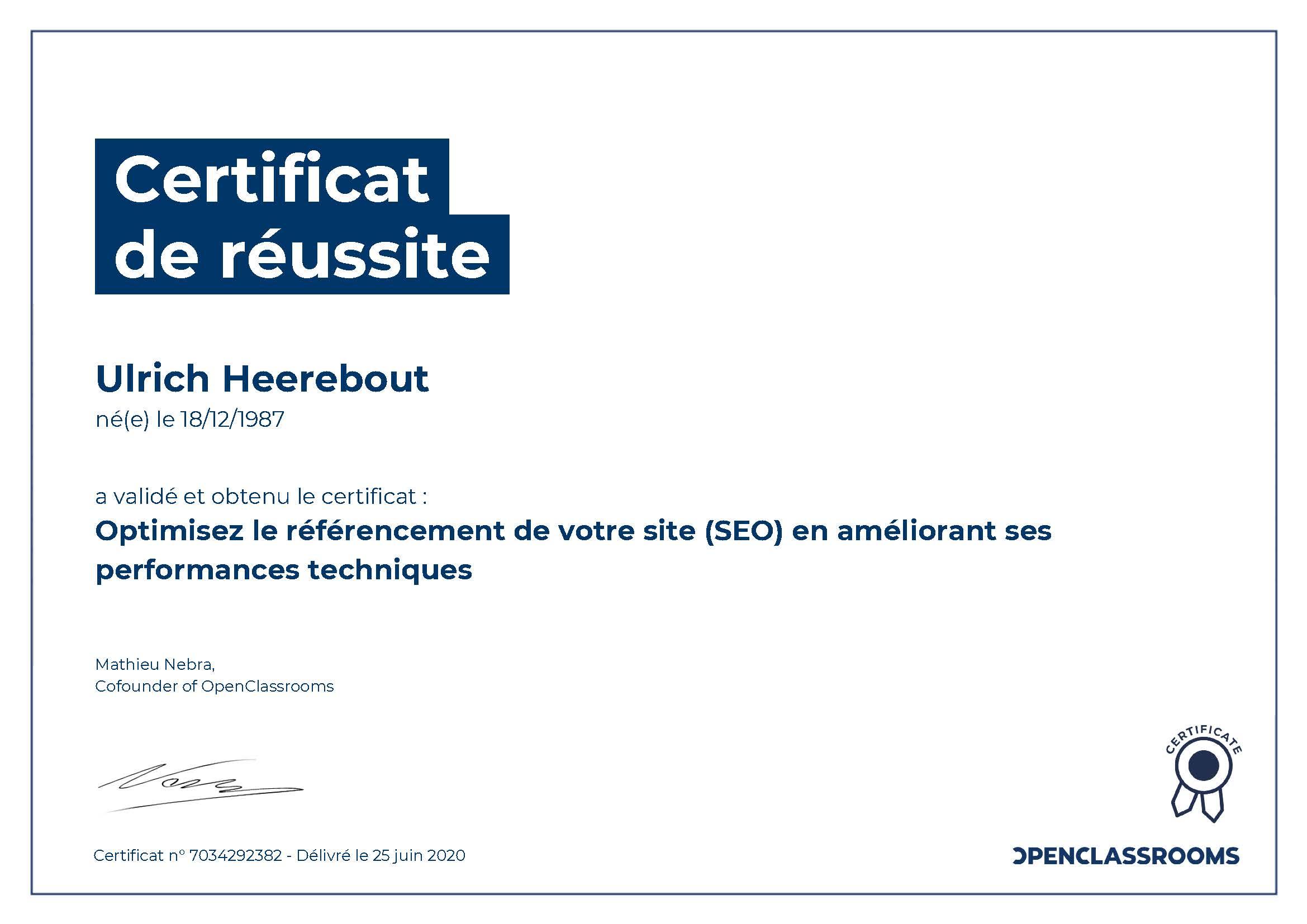 Certificat de réussite : Optimisez le référencement de votre site (SEO) en améliorant ses performances techniques
