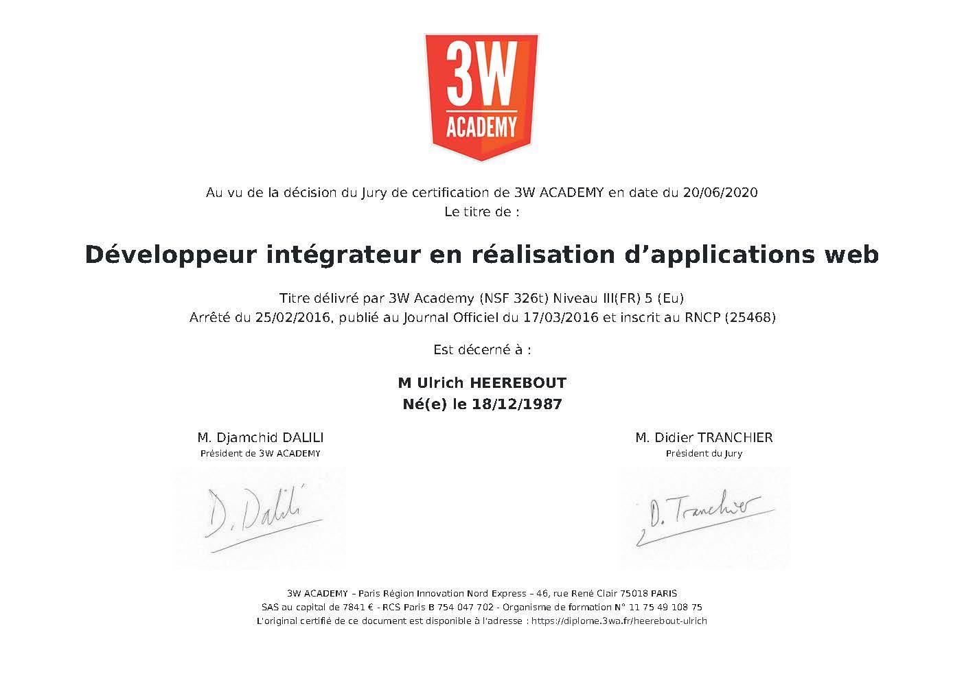 Développeur intégrateur en réalisation d'applications web Titre délivré par 3W Academy (NSF 326t) Niveau III