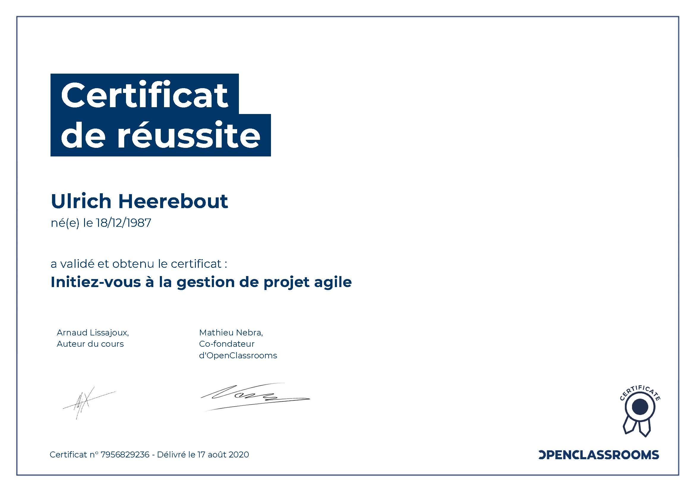 Certification OpenClassRooms : Initiez-vous à la gestion de projet agile