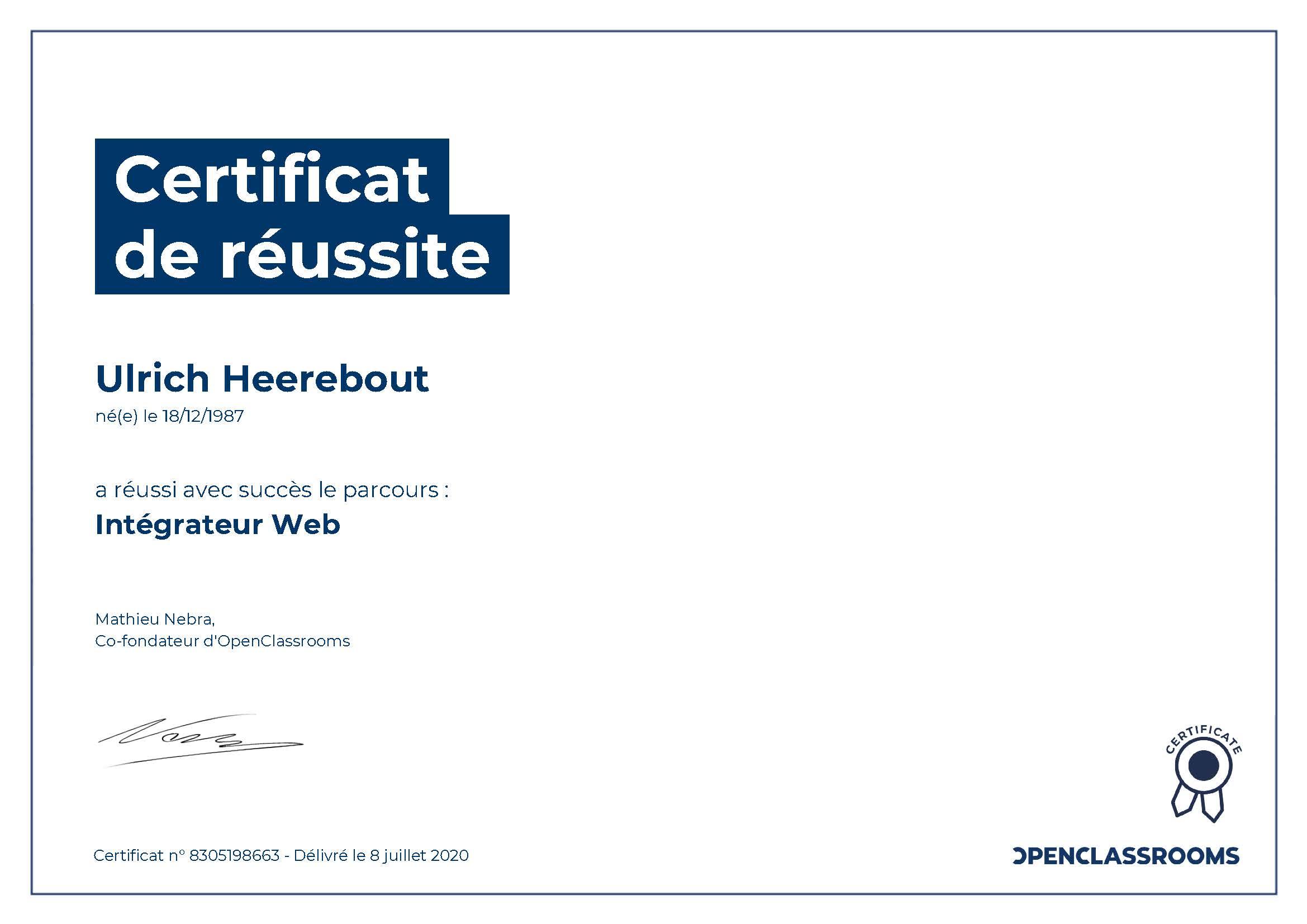Certification OpenClassRoom