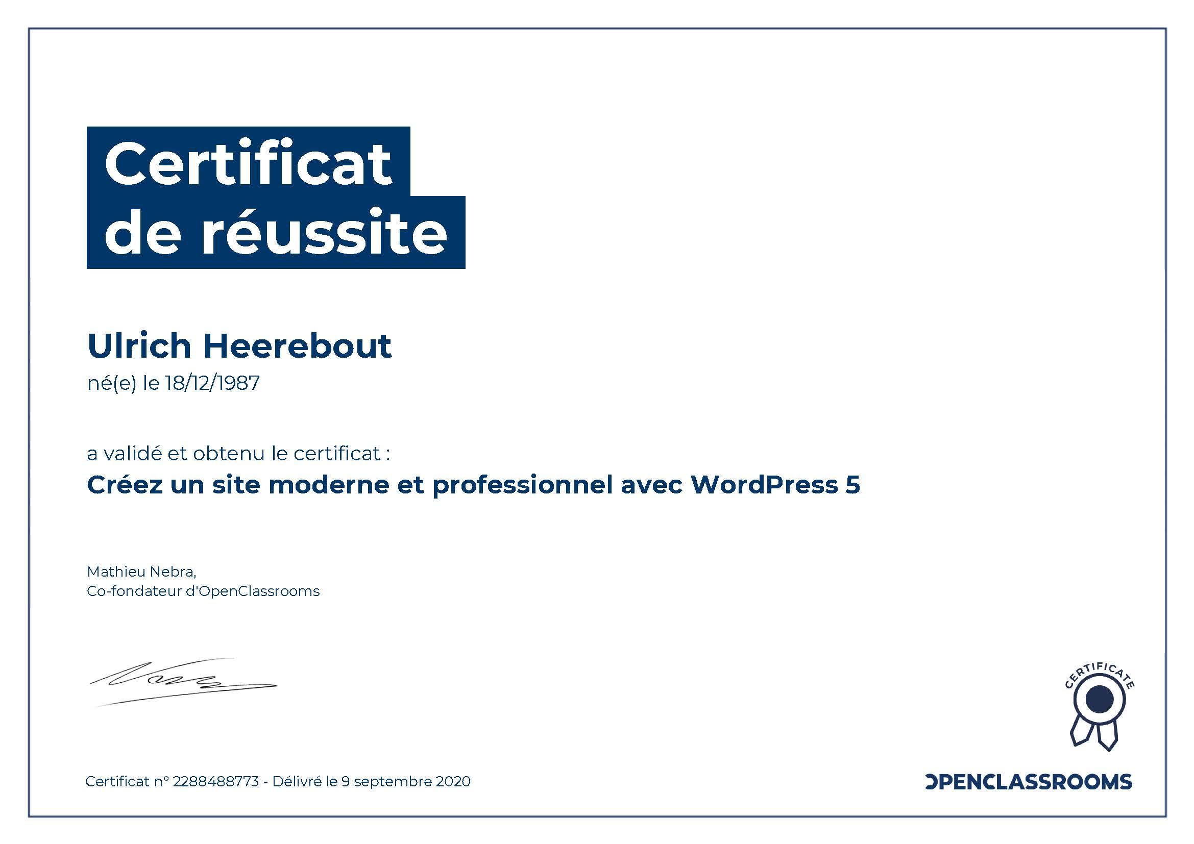 Certification OpenClassRoom : Créez un site moderne et professionnel avec WordPress 5